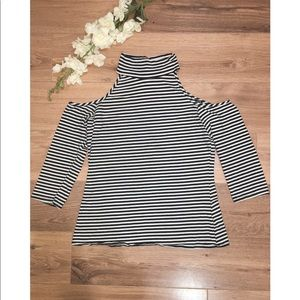 Boston Proper Cold Shoulder Striped Long Sleeve